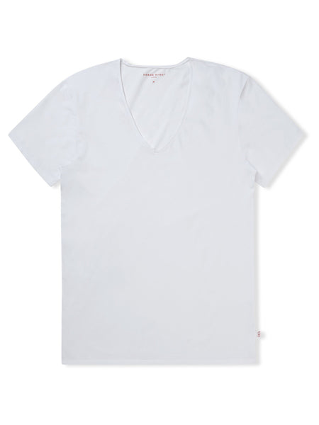 Derek Rose Pima Cotton V Neck  Jack - White