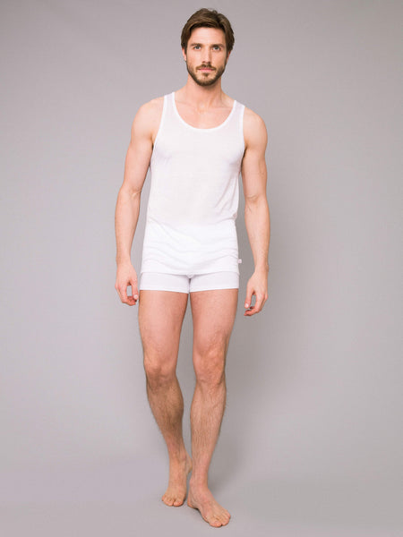 Derek Rose Mercerised Cotton Tank Lewis in white