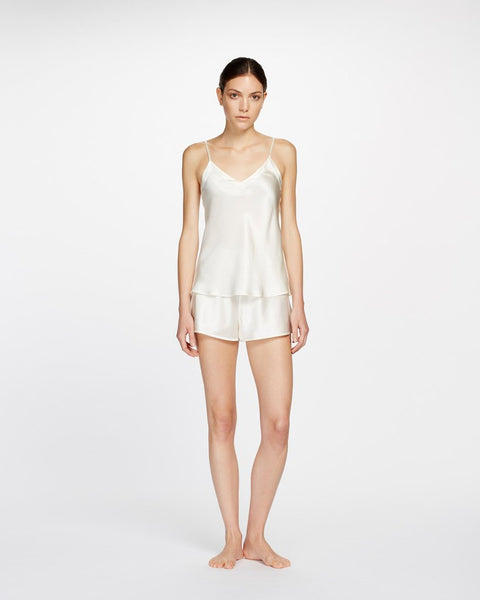 Ginia Silk V neck Cami in Creme