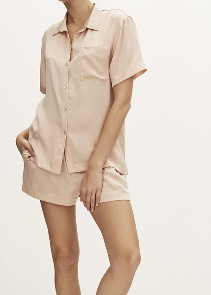 Pale Blush Pyjama Shortie Set in Silk