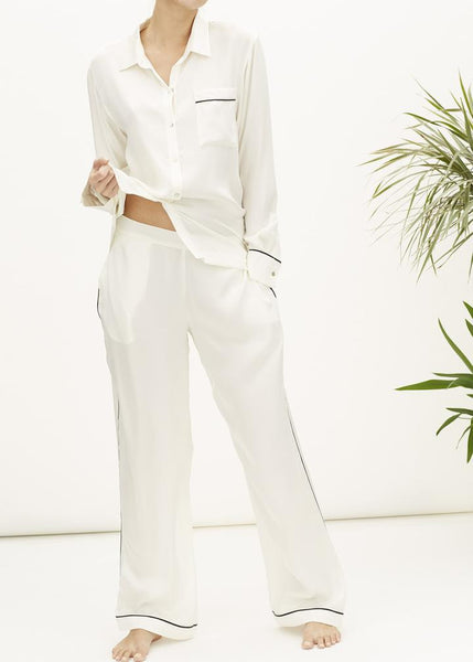 Asceno Classic Cream Silk PJ Set
