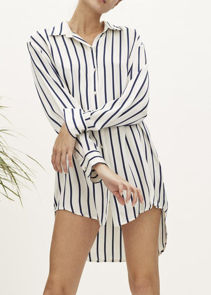 Navy Stripe Silk Sleep Shirt