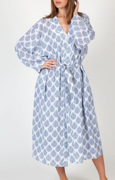 Arabella Blue Leaf Cotton Robe