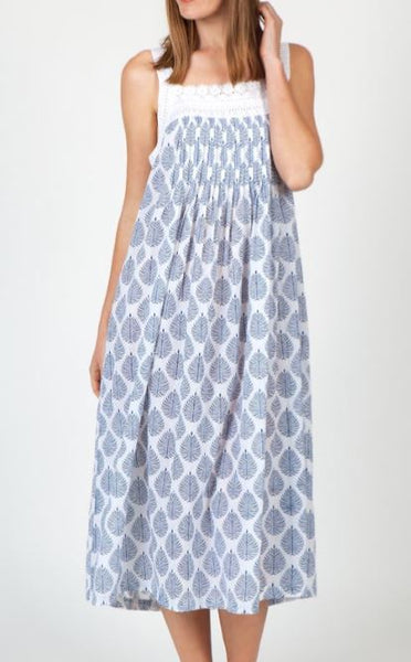 Arabella Blue Leaf Cotton Sleevless Nightie