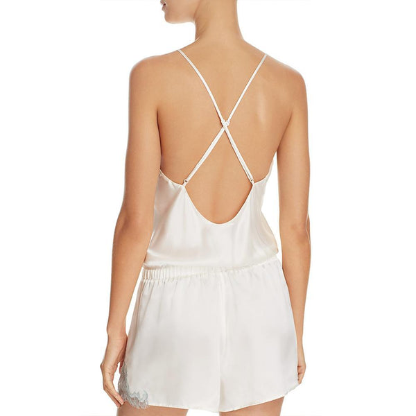 Ginia Silk Romper with Chantilly Lace