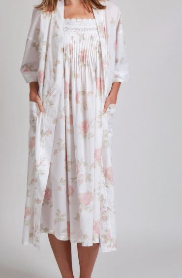 Arabella Floral Robe in Pretty Pink Blooms