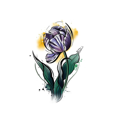 Purple watercolor Tulip