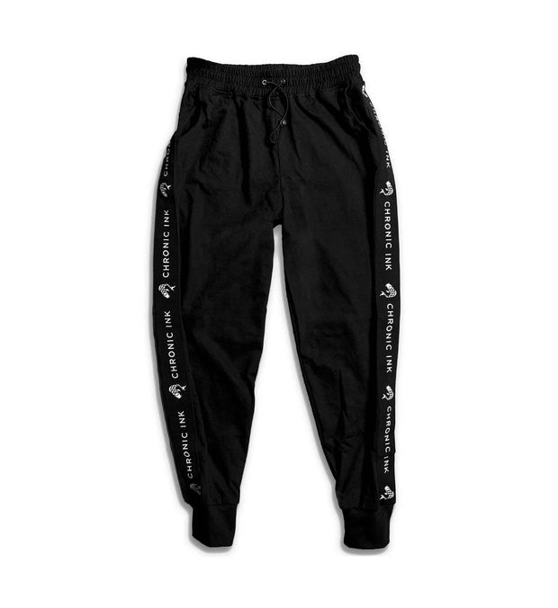 Chronic Ink Logo Band Classic Trackpants- Black