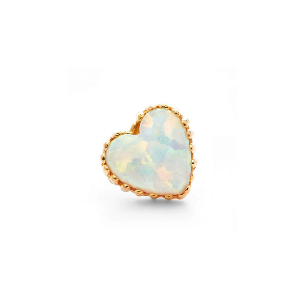 14G THREADED Anatometal Opal Heart in 18k Rose Gold with White Opal