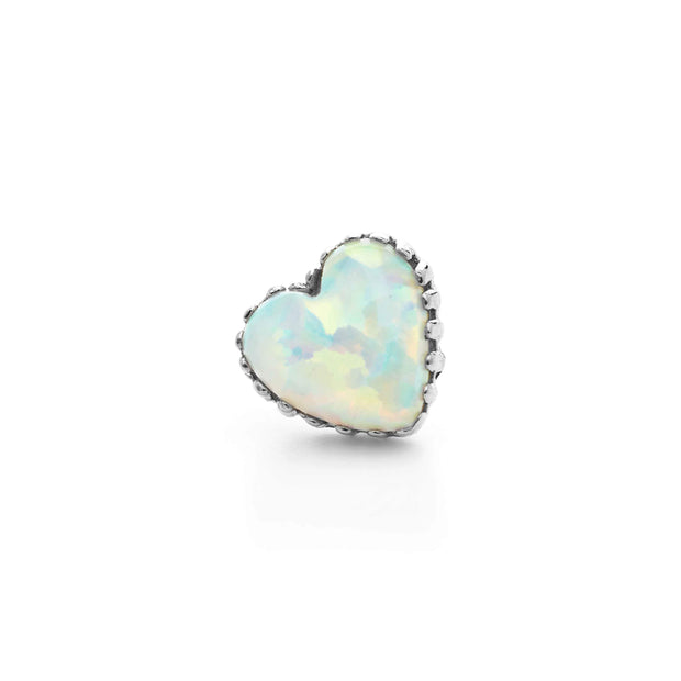 14G THREADED Anatometal Opal Heart in 18k White Gold with White Opal