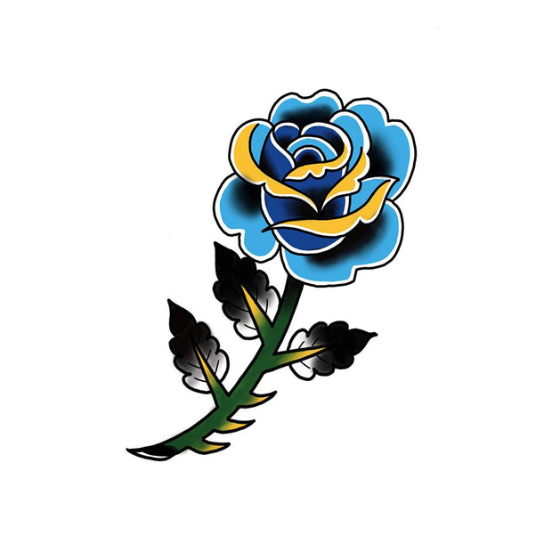 Neo-traditional blue rose
