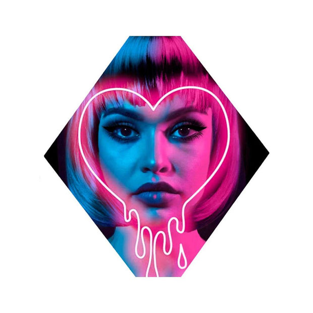 Neon lady with bob haircut