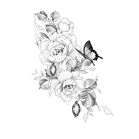 Butterfly with Peonies