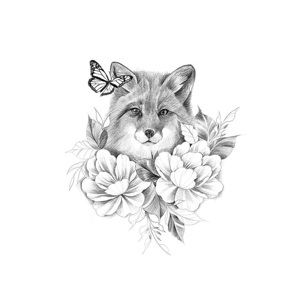 Fox with Peonies