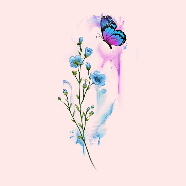 Butterfly with Forget Me Nots