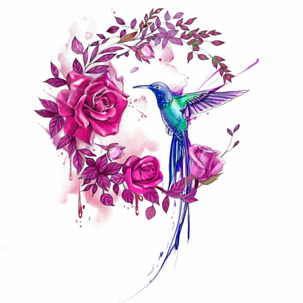 One Hummingbird with Rose
