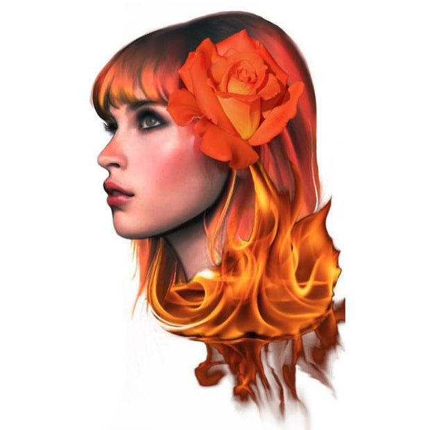 Hair on flames lady