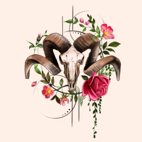 Goat Skull with Flowers