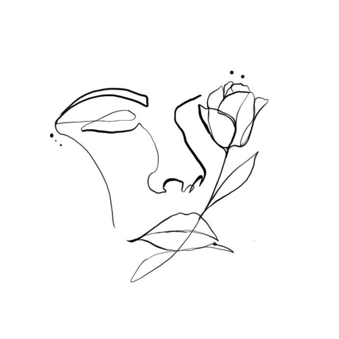 Linework Face and Rose