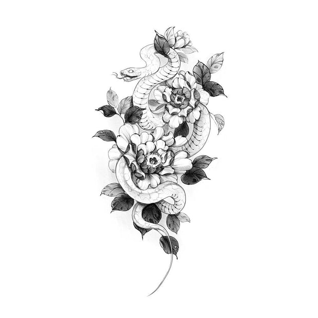White Snake with Peonies