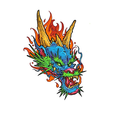 Dragon head with Flames