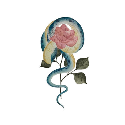 Painterly Snake and Rose