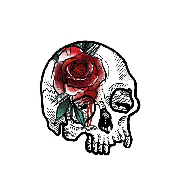 Skull with Watercolor Rose