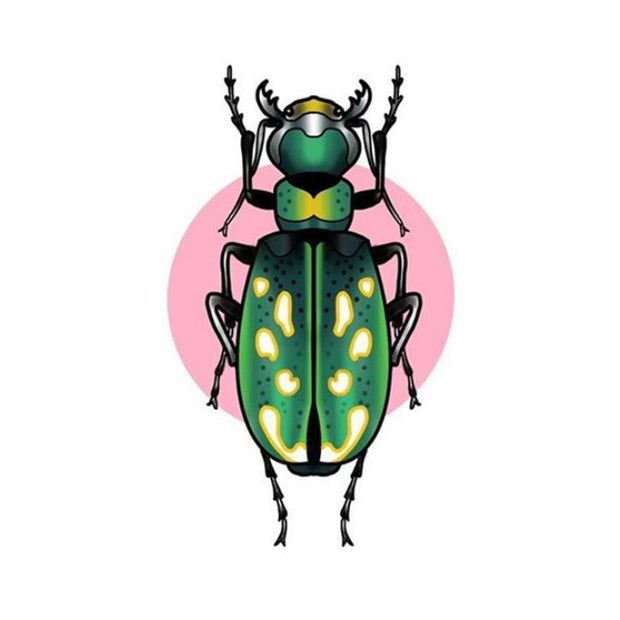 Green Beetle with Pink Circle