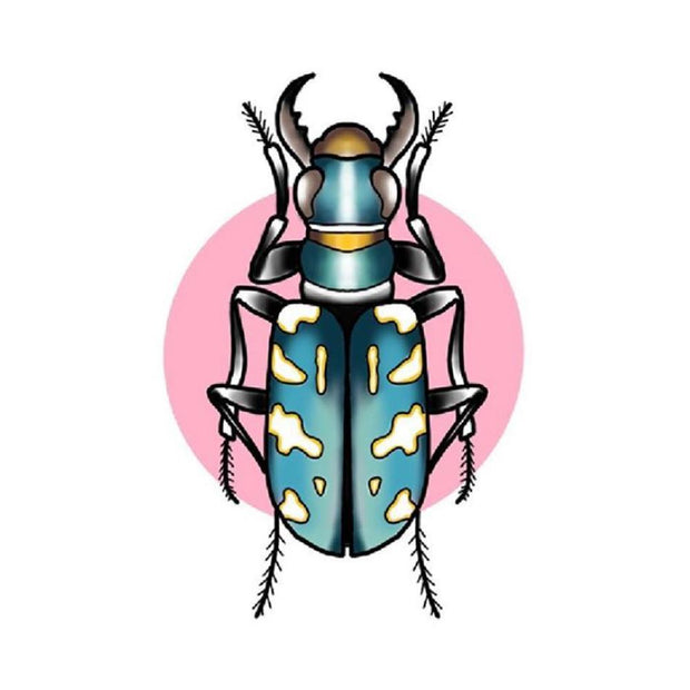 Blue and Mustard Beetle with Pink Circle