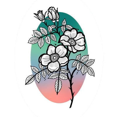 Line work Flowers with Ombre Oval Circle