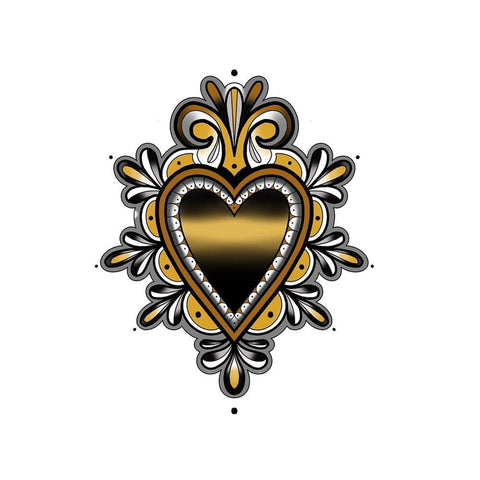 Sacred Heart with Decoration - Yellow Heart