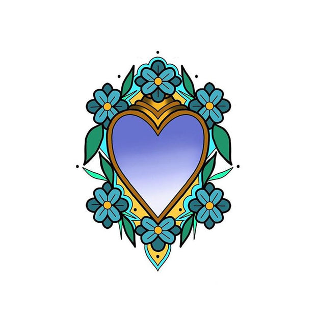 Sacred Heart with Blue Flowers