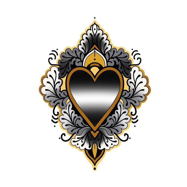 Sacred Heart with Decoration - Black Heart