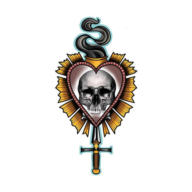 Sacred heart with Skull and Dagger