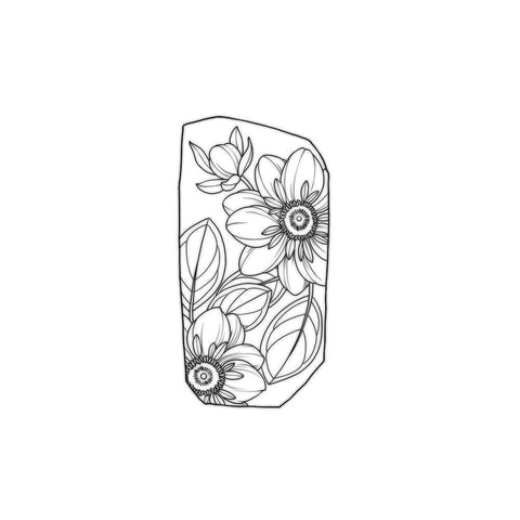 Apple Blossom Dahlias Tile