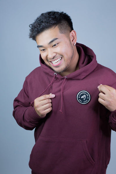 Champion x Chronic Ink 10 Years Badge Pullover Hood - Maroon