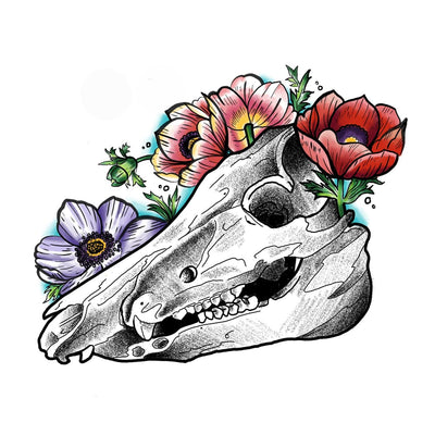 Blackwork Raccoon Skull with Florals.