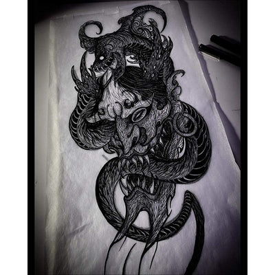 Hannya Mask and Snake