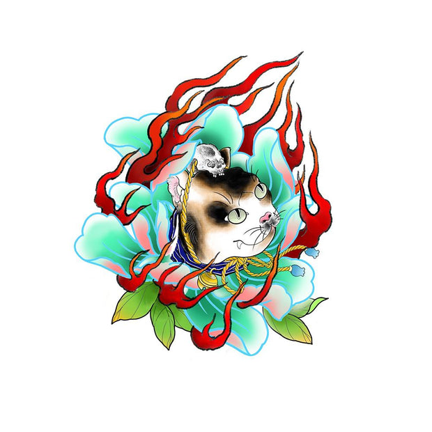 Cat Peony with Flames