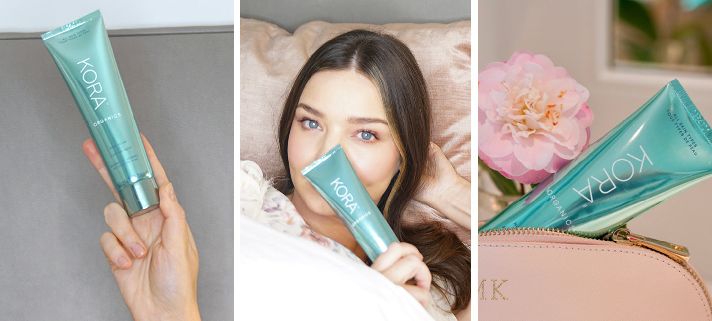 Miranda Kerr with the KORA Organics Noni Glow Sleeping Mask