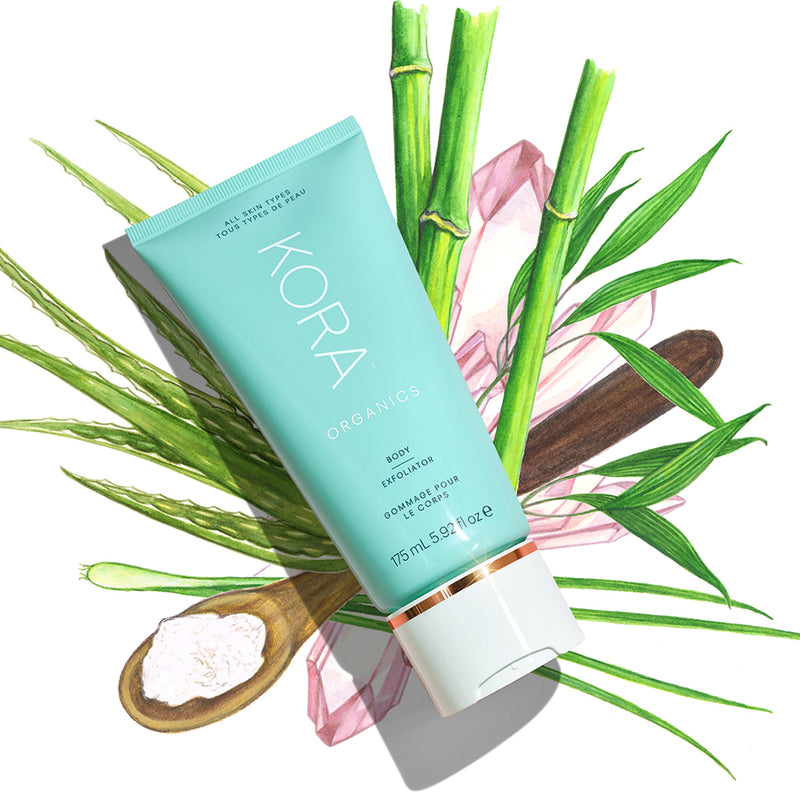 Our Body Exfoliator delivers powerful results THANKS TO its potent blend of active ingredients—Aloe Vera, Bamboo Stem Extract, Diatomaceous Earth and Lemongrass Essential Oil. At KORA Organics, we believe that there is: BEAUTY IN THE BLEND
