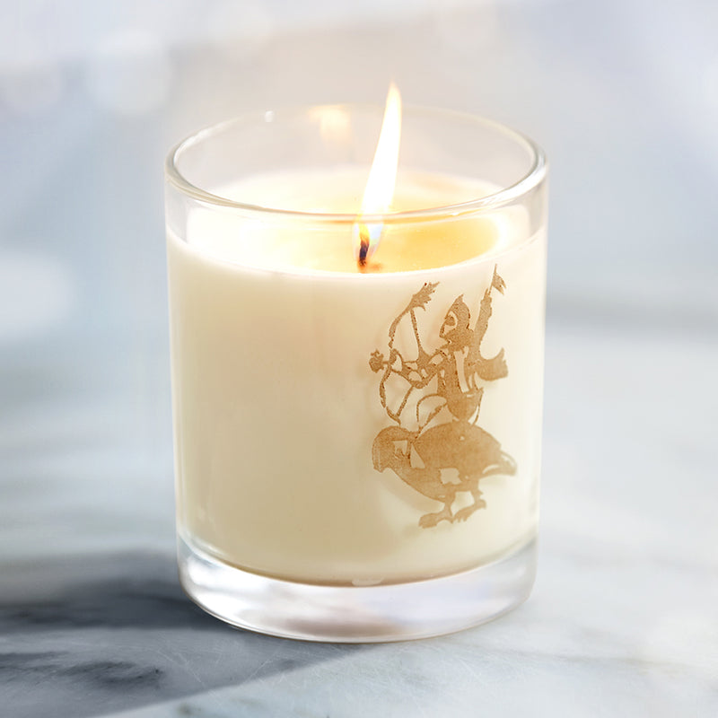 Matter & Home Love Candle. Etched into the glass is the image of Kamadeva, who represents divine love, while the word LOVE holds space on the other side.