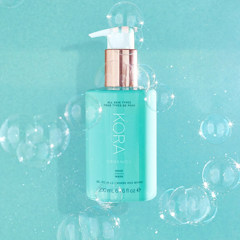 """This hand wash is on every sink in my house. I love that you continue to smell our aromatherapy blend of Lemongrass, Orange and Peppermint essential oils after use."" – Miranda Kerr, Founder & CEO KORA Organics"