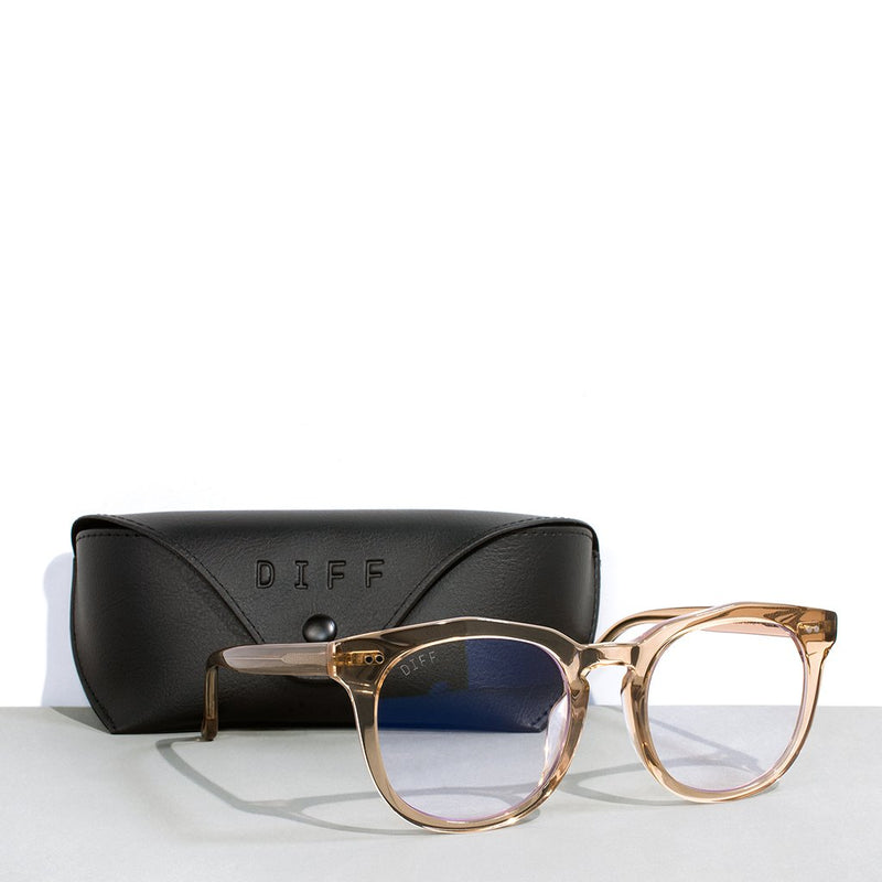 DIFF Eyewear - The Weston Blue Light Glasses in Vintage Crystal with Black carrying case.,