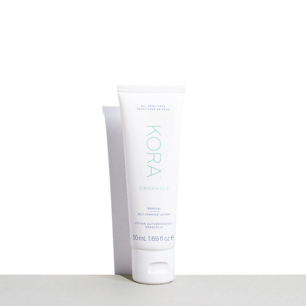 KORA Organics Gradual Self-Tanning Lotion 50mL | Certified Organic Self Tan, 50mL Self-Tan great for trial or travel. Certified Organic Tanning Lotion. KORA Organics