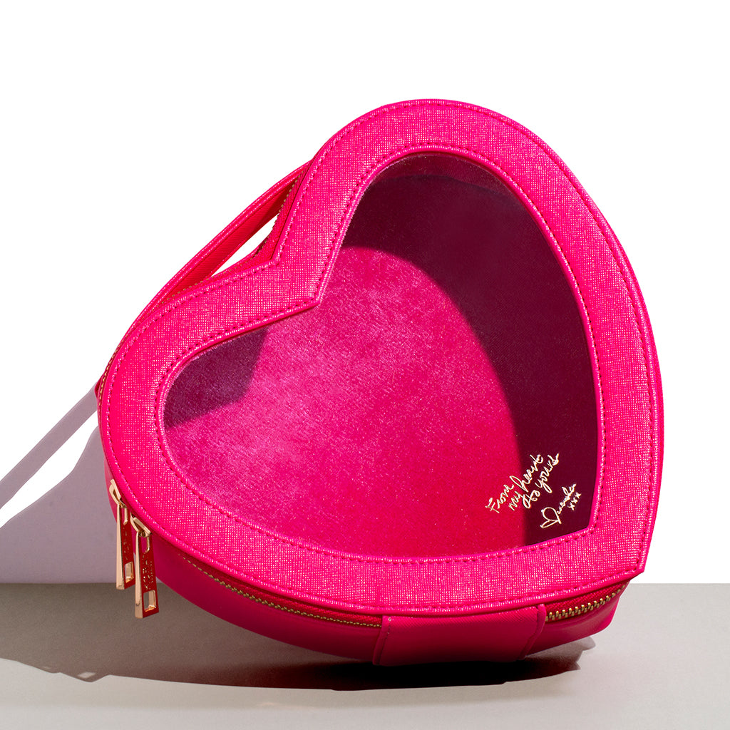 Inspired by love, Miranda created this heart-shaped beauty bag so you can take LOVE with you, wherever you go.