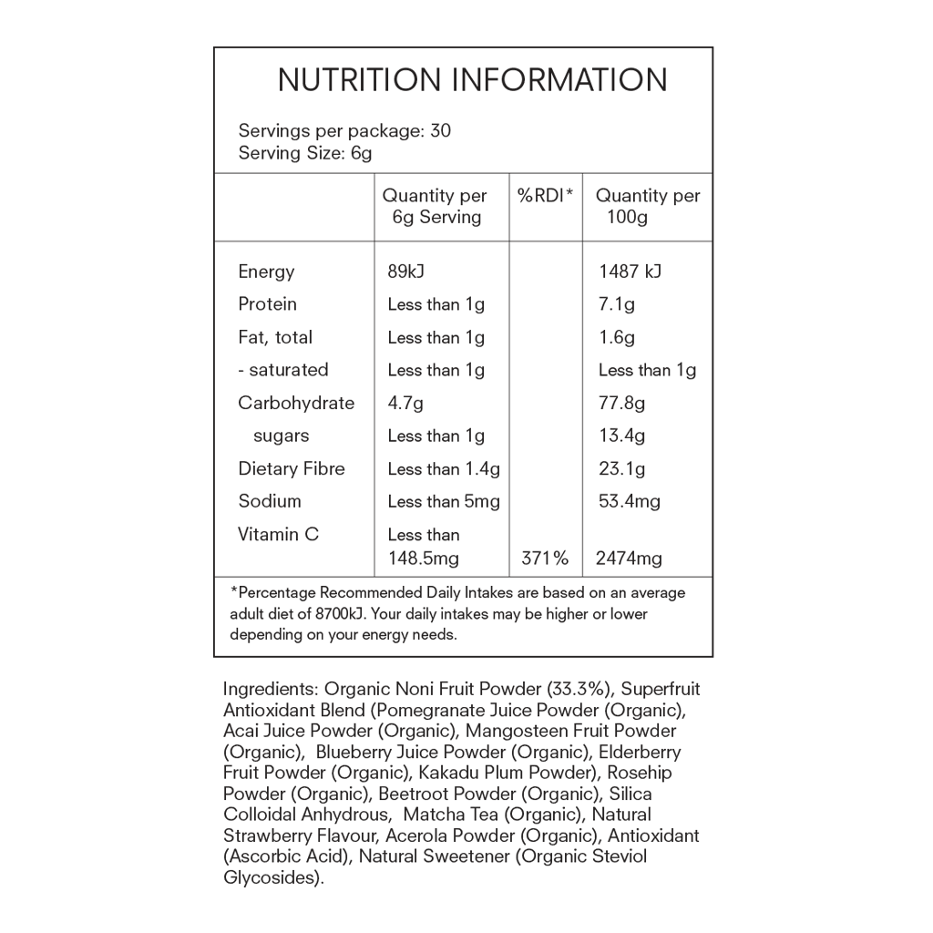 Noni Glow Skinfood Supplement 30 Pack Nutrition Table