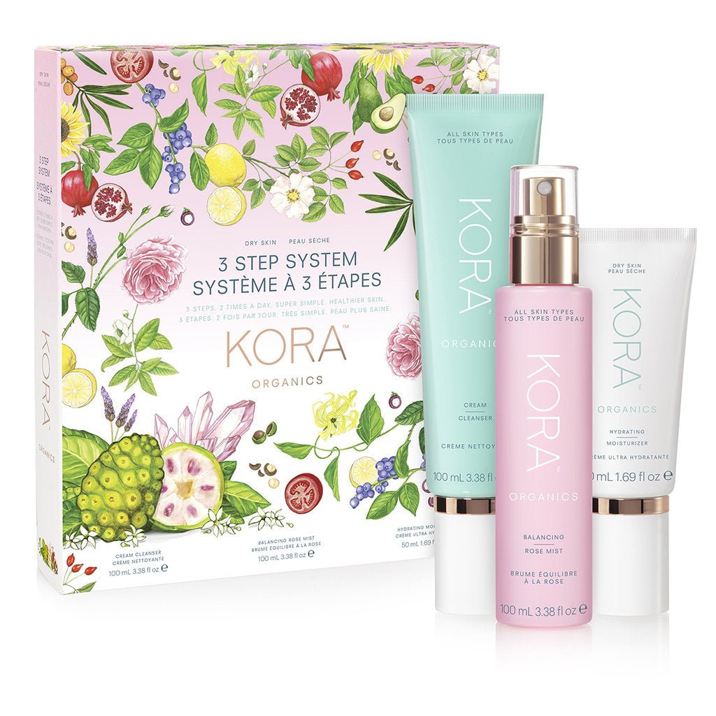 3 Step System - Dry Skin - Cream Cleanser 100mL, Balancing Rose Mist 100mL, Hydrating Moisturizer 50mL