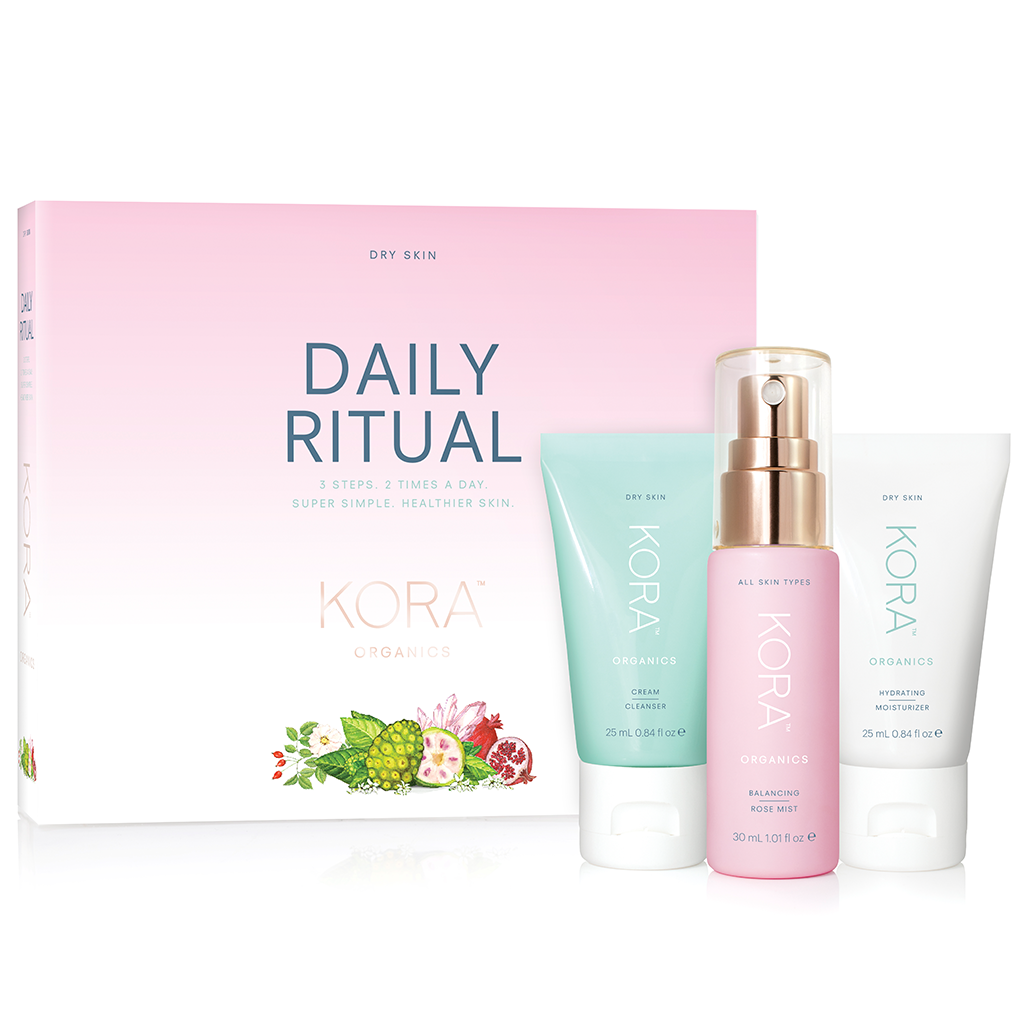 KORA Organics Daily Ritual Kit for Dry Skin - Cream Cleanser 25mL, Balancing Rose Mist 30mL, Hydrating Moisturizer 25mL.