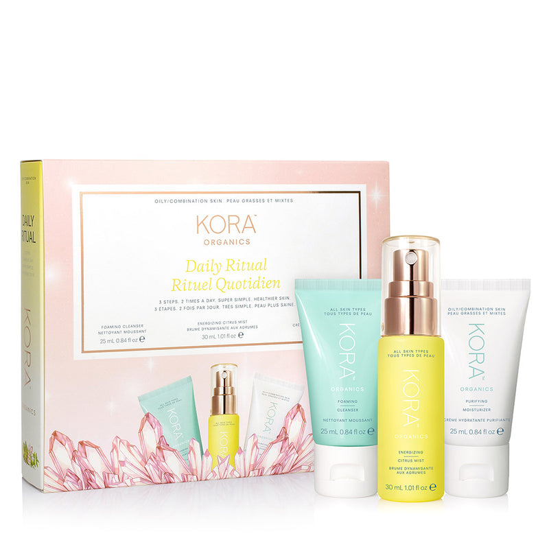 Daily Ritual Kit for Oily/Combination Skin - Includes certified organic Foaming Cleanser 25mL, Energizing Citrus Mist 30mL, Purifying Moisturizer 25mL. Trial and Travel Skincare Set.